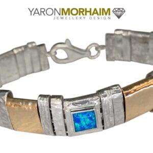 Silver Gold Opal Bracelet