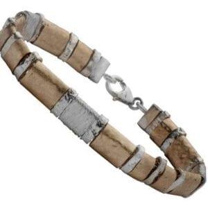 Silver Gold Hammered Bracelet