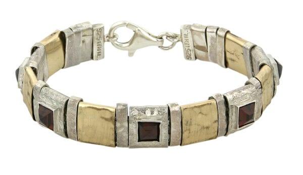 Elegant Classic Silver Gold Garnet Bracelet