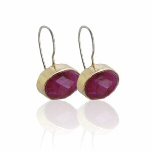 Beautiful Drop Earrings, Sterling Silver Hooks (with safety catch) adorned with Ruby set in 9k Gold