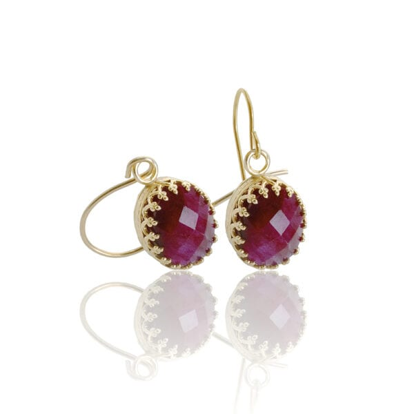 Gold Drop Earrings With Faceted Ruby Gems
