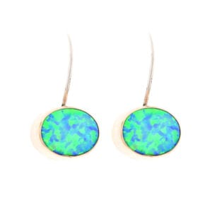 Silver Gold Oval Opal Drop Earrings