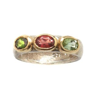 Cocktail Silver Gold Tourmaline Gemstone Ring