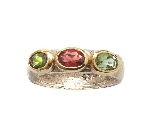 Cocktail Silver Gold Tourmaline Gemstone Ring