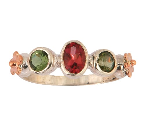 Exquisite Silver Gold Ring With Tourmaline Gemstones