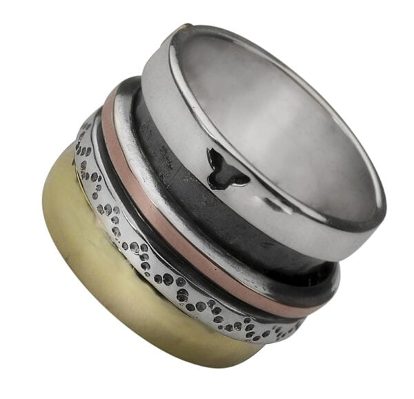 Aztec Silver Gold Spinning Ring