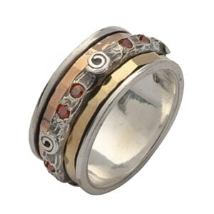 Spinning Silver Gold Ring With Round Garnet Gems