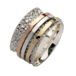 Textured Silver Gold Spinning Ring