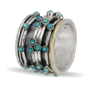 Opal Silver Gold Statment Spinning Ring