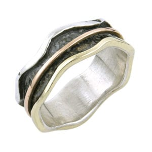 Silver Gold Oxidised Spinning Ring