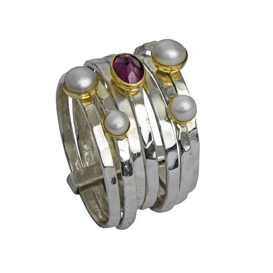 Multi Band Pearls Garnet Ring