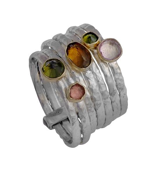 Multi Band Gemstone Ring