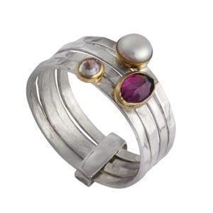 Pearl Garnet CZ Silver Gold Ring