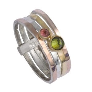 Stunning Silver Gold Ring With Tourmaline Gems