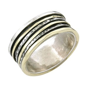 Silver Yellow Gold Spinning Ring