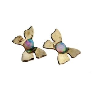 Delicate butterfly studs set with Opalite, 9k gold
