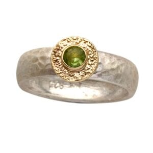 Silver Gold Round Peridot Ring