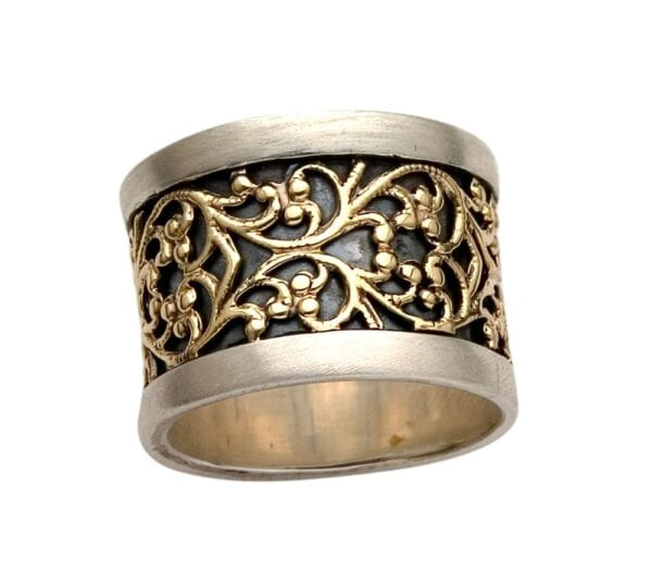 Silver Gold Quirky Filigree Ring