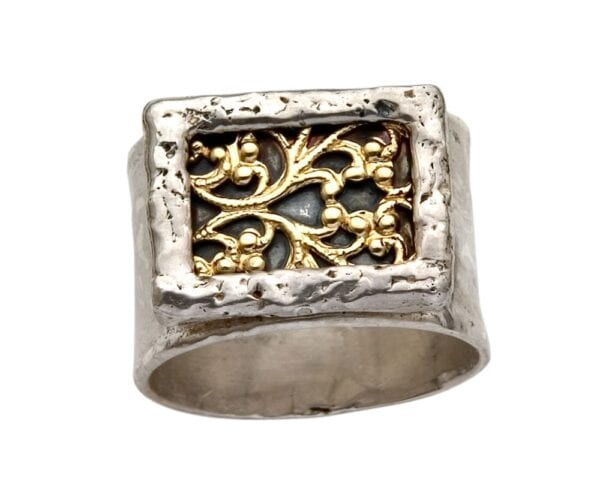 Quirky Silver Gold Filigree Ring