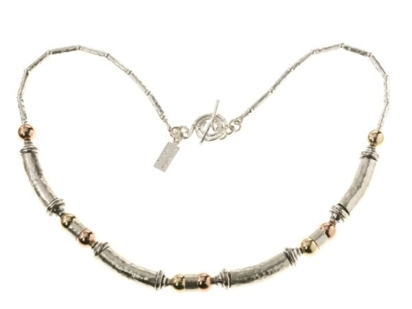 Chunky Silver Gold Hammered Necklace