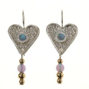 Heart-shaped Silver Gold Earrings