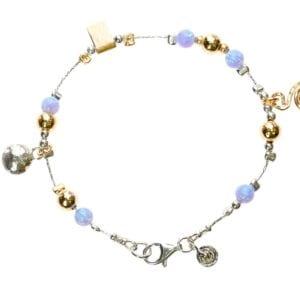 Opal Charm Silver Gold Bracelet
