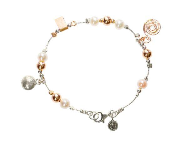 Silver Gold Charm Pearl Bracelet
