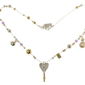 Silver Gold Charm Heart Necklace