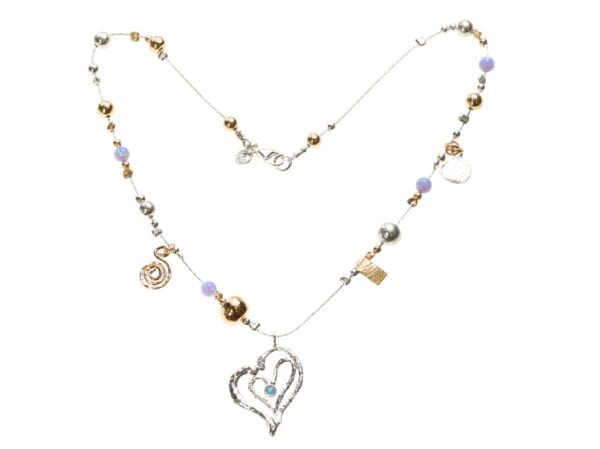 Opal Charm Drop Necklace