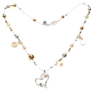 Beautiful sterling silver necklace with hammered silver and 14k rolled gold beads, with white pearl and a heart pendant