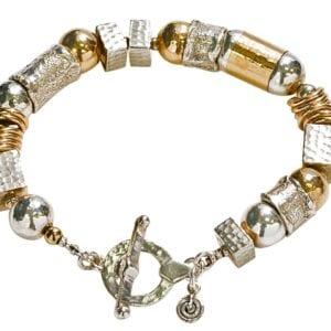 Hammered Silver Gold Bracelet