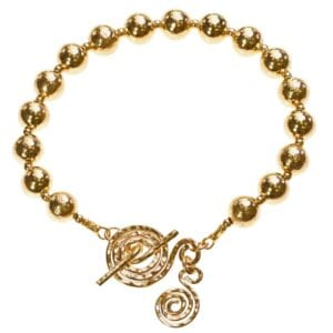 Gold Bracelet With Spiral T-Bar Clasp