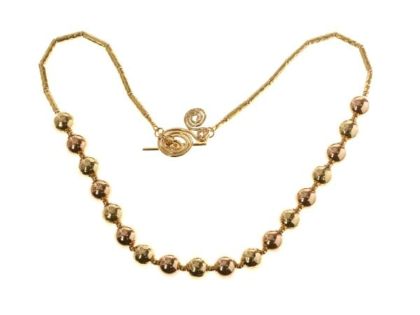 Gold Necklace With Spiral T-Bar Clasp