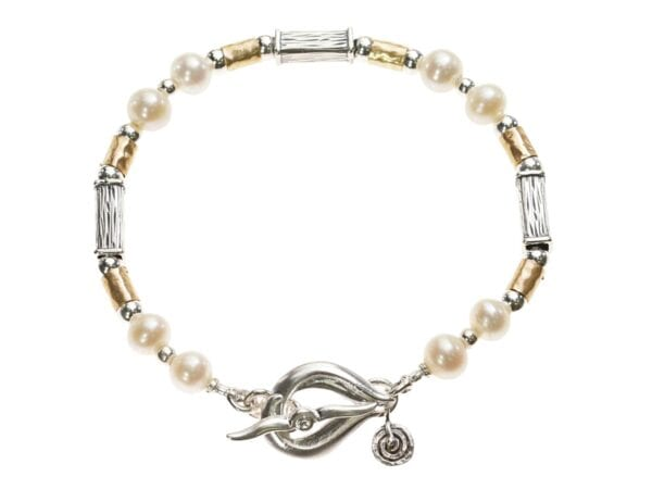 White Pearl Hammered Silver Gold Bracelet