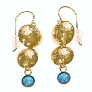 Hammered finish 14k Rolled Gold earrings with Opalite gems