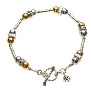 Silver Gold bracelet With T-Bar Clasp