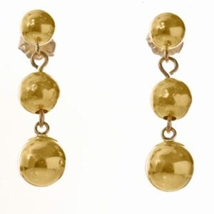 Hammered Gold Triple Drop Earrings