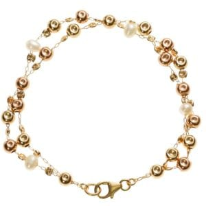 Double Strand Gold Pearl Bracelet