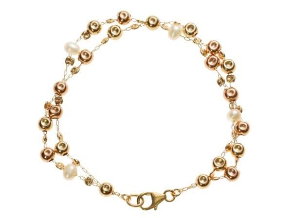Double Strand Gold Pearl Bracelet