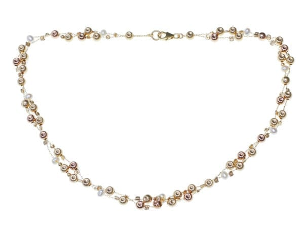 Double Strand Gold Pearl Necklace