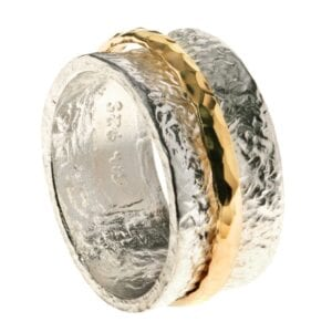 Hammered Silver Gold Spinning Ring