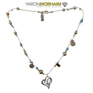 Opal Charm Drop Silver & Gold Necklace