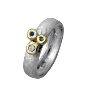 Silver Gold Ring With Multi Colour Diamonds