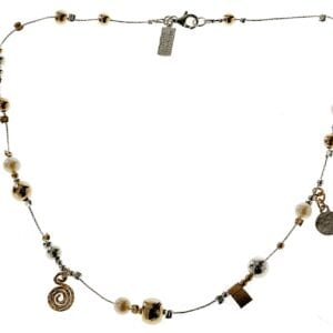 Pretty multi charm and pearl sterling silver and 14k rolled gold necklace