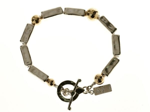 Chunky Silver Gold Hammered Bracelet