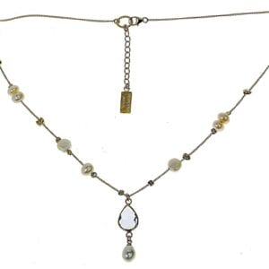 Gold Pearl CZ Drop Necklace