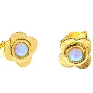 Flower Gold Opal Studs