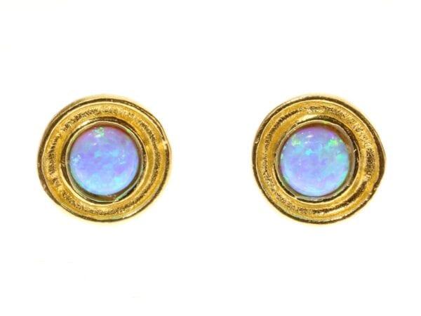 Gold Vermeil Hammeed Round Opal Studs