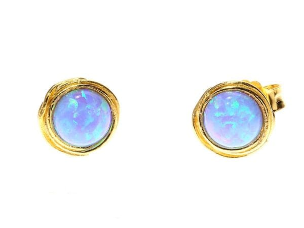 Gold Round Opal Studs