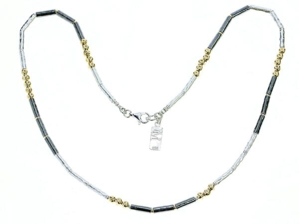 Oxidised Silver Gold Fine Necklace